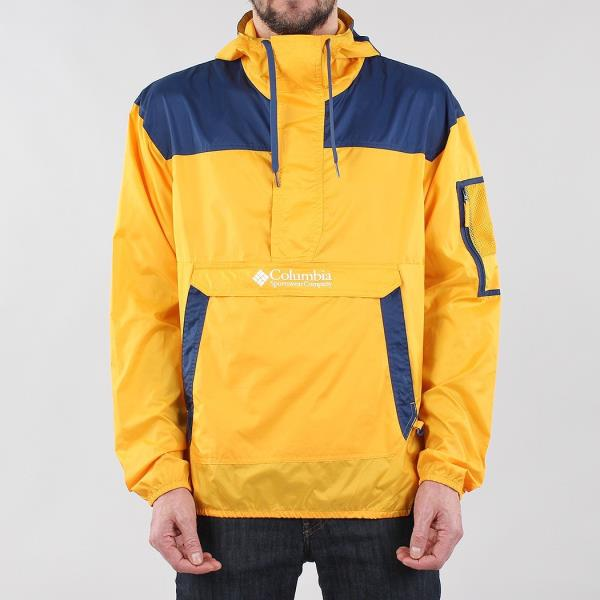 2c910a6b7 Details about Columbia Men's New Challenger Windbreaker Pullover Jacket  Yellow Carbon Blue