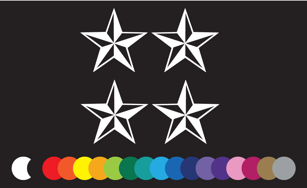 4 nautical stars vinyl stickers for window sailor fun tattoo style mariner star