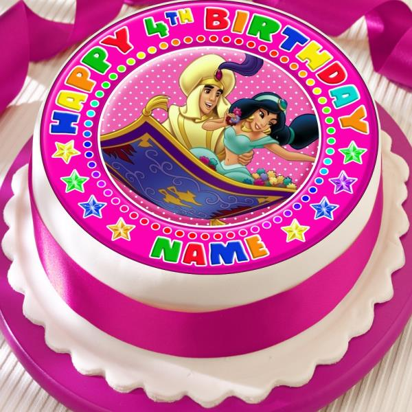 Jasmine Aladdin Personalised Precut Edible Birthday Cake Topper