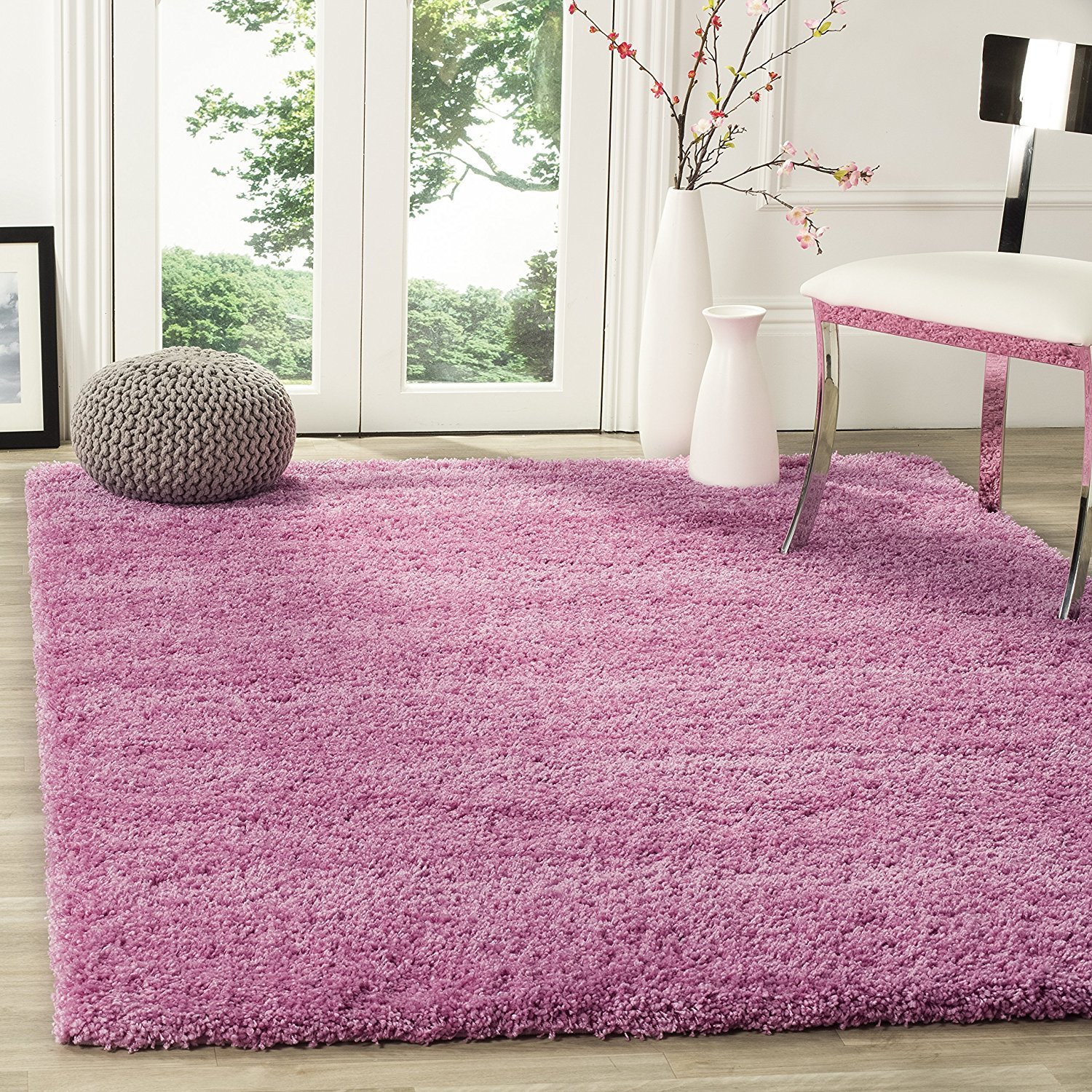 Small Large Pink Rug Cerise Runners Sparkle Modern Thick: Small X Large Shaggy Area Rugs Mat 5cm Thick Soft Pile