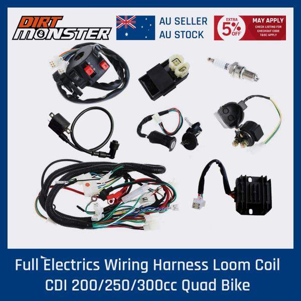 details about full electrics wiring loom for 150/200/250/300cc atomik  motoworks atv quad buggy