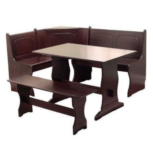 3 Pc Espresso Wooden Breakfast Nook Dining Set Corner Booth Bench Kitchen Table Ebay