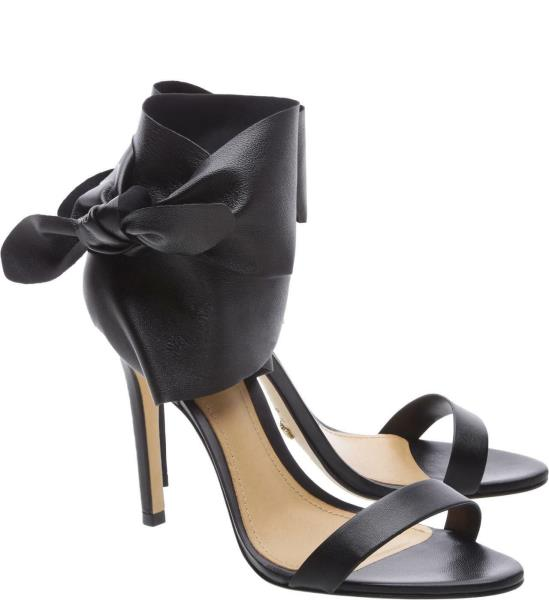 Schutz Sophie Black Nappa Leather Open Toe Stiletto Ankle Cuff Sandal Dress Pump