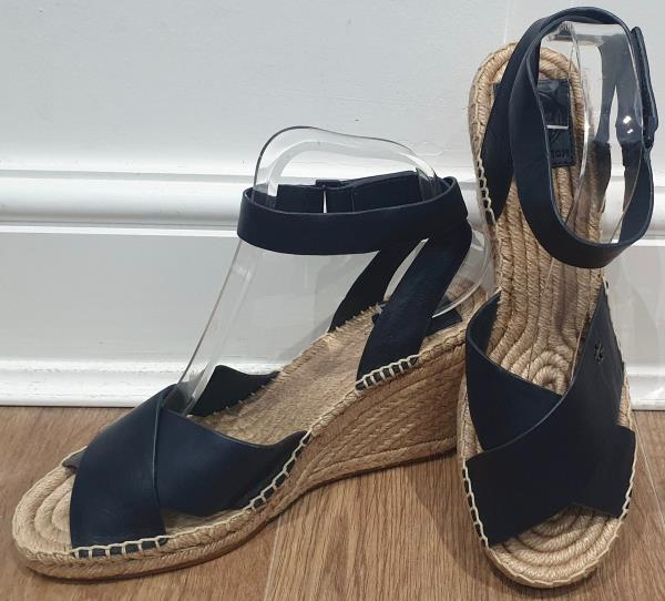 TORY BURCH Navy Blue Leather Ankle